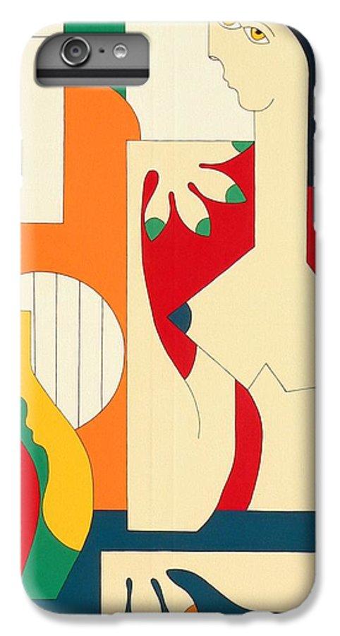 Women Music Modern Green Orange Bleu Gitar IPhone 6 Plus Case featuring the painting Women And Music by Hildegarde Handsaeme