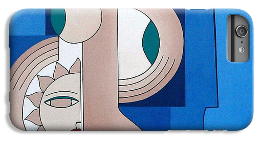 Women Bips Bleu Modern IPhone 6 Plus Case featuring the painting Women And Questions by Hildegarde Handsaeme