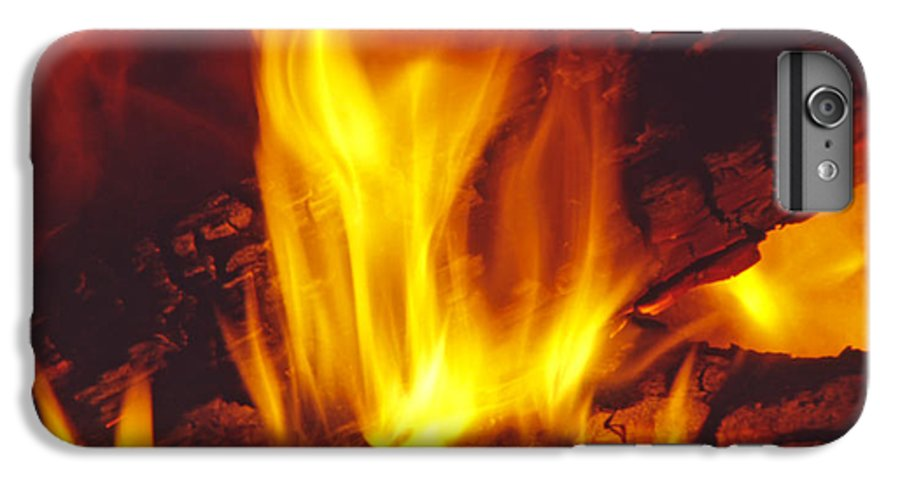 Fire IPhone 6 Plus Case featuring the photograph Wood Stove - Blazing Log Fire by Steve Ohlsen