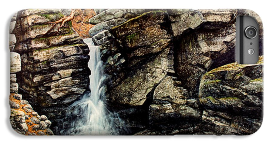 Waterfall IPhone 6 Plus Case featuring the painting Woodland Falls by Frank Wilson