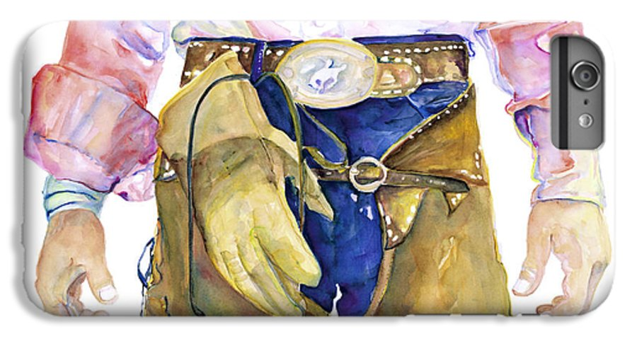 Cowboy Painting IPhone 6 Plus Case featuring the painting Wrangler by Pat Saunders-White