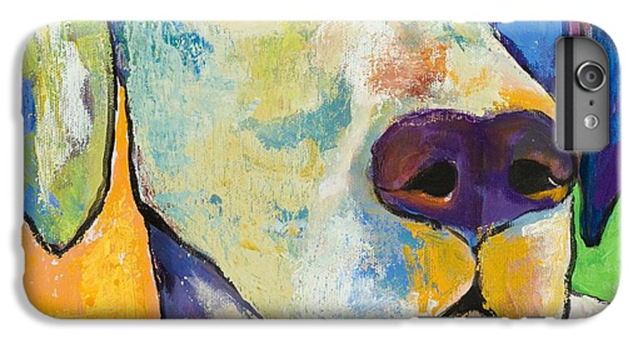 German Shorthair Animalsdog Blue Yellow Acrylic Canvas IPhone 6 Plus Case featuring the painting Yancy by Pat Saunders-White