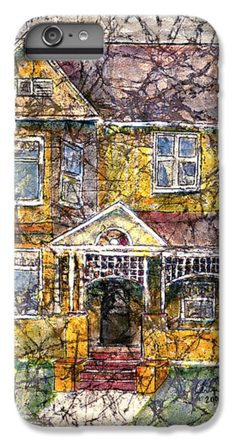 House IPhone 6 Plus Case featuring the mixed media Yellow Batik House by Arline Wagner