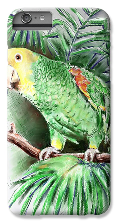 Bird IPhone 6 Plus Case featuring the digital art Yellow-headed Amazon Parrot by Arline Wagner