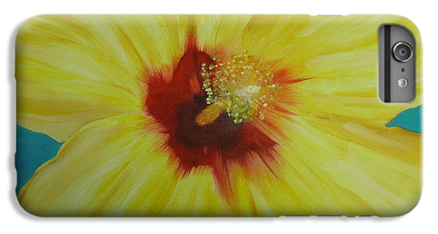 Flower IPhone 6 Plus Case featuring the print Yellow Hibiscus by Melinda Etzold