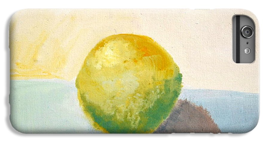 Lemon IPhone 6 Plus Case featuring the painting Yellow Lemon Still Life by Michelle Calkins