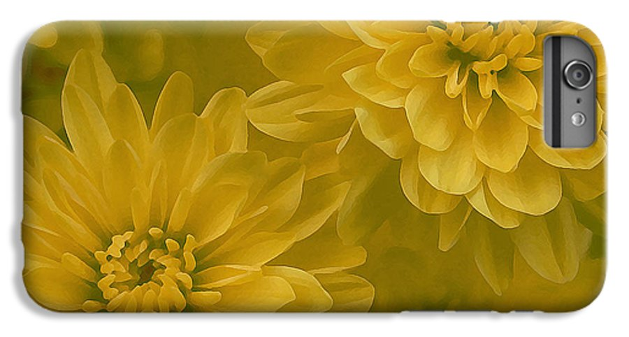 Yellow Mum Art IPhone 6 Plus Case featuring the photograph Yellow Mums by Linda Sannuti