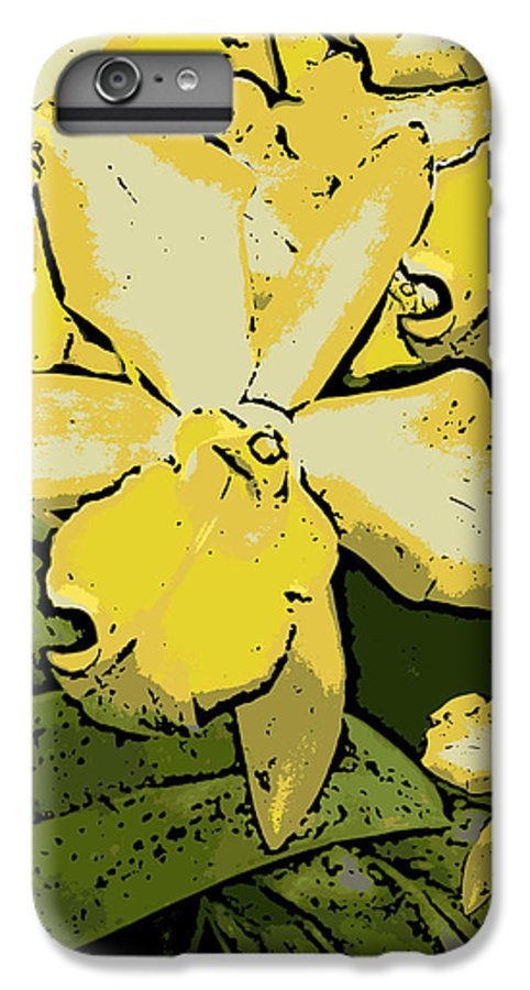 Orchid IPhone 6 Plus Case featuring the photograph Yellow Orchids Woodcut by Ann Tracy