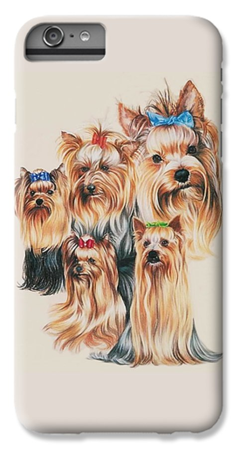 Purebred IPhone 6 Plus Case featuring the drawing Yorkshire Terrier by Barbara Keith