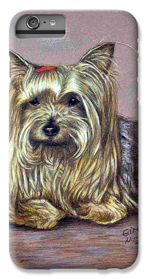 Dog IPhone 6 Plus Case featuring the drawing Yorkshire Terrier by Nicole Zeug