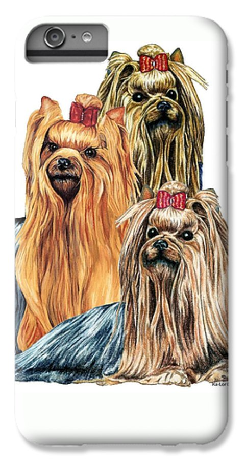 Yorkshire Terrier IPhone 6 Plus Case featuring the drawing Yorkshire Terriers by Kathleen Sepulveda