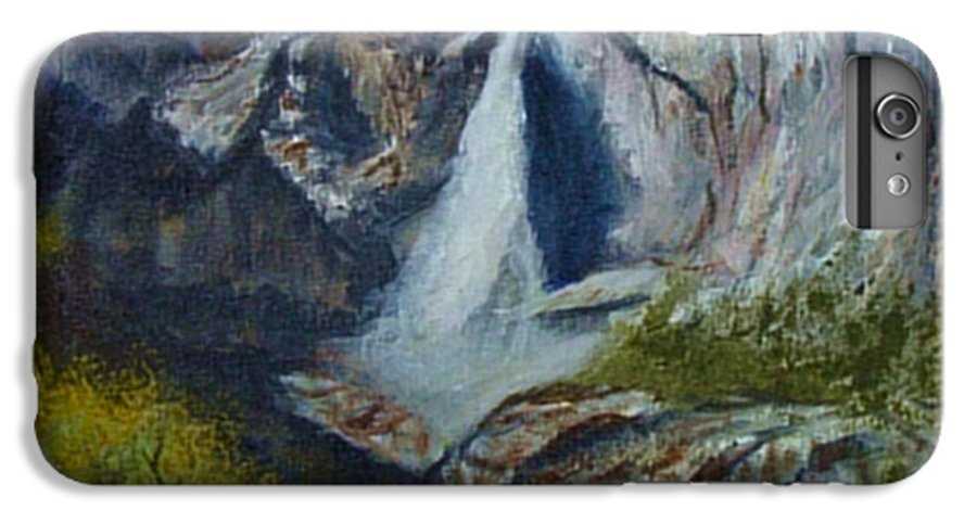 Waterfall IPhone 6 Plus Case featuring the painting Yosemite Waterfall by Quwatha Valentine