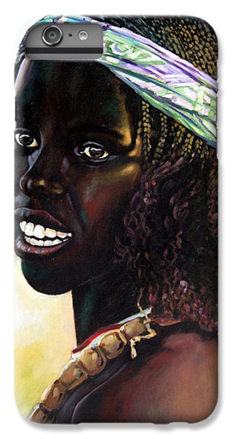Young Black African Girl IPhone 6 Plus Case featuring the painting Young Black African Girl by John Lautermilch