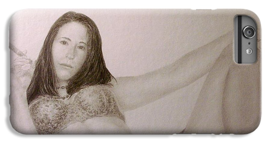 Female Nude Cigars Sexy Portrait Lingerie IPhone 6 Plus Case featuring the drawing Your Move................. by Tony Ruggiero