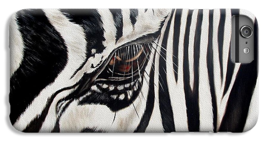 Zebra IPhone 6 Plus Case featuring the painting Zebra Eye by Ilse Kleyn