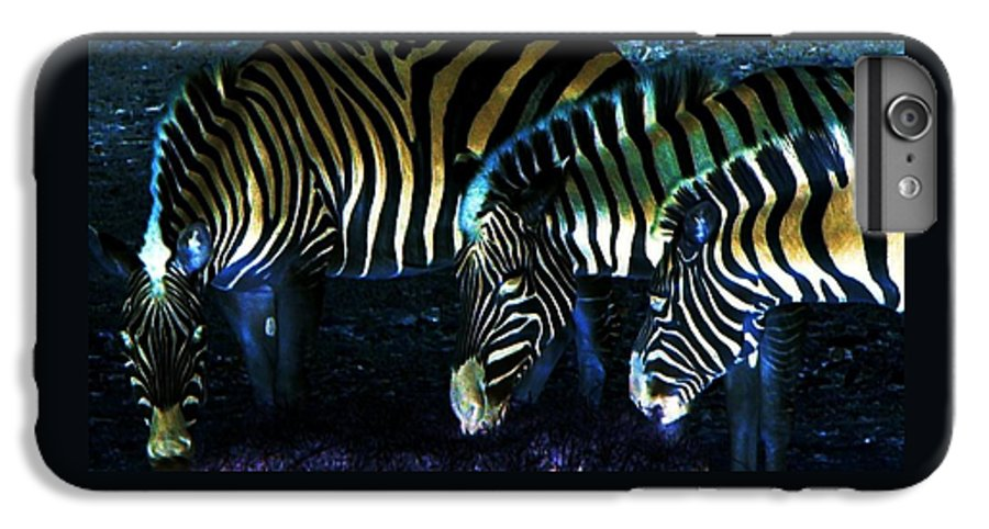 Zebra IPhone 6 Plus Case featuring the digital art Zebras Glow by Kenna Westerman