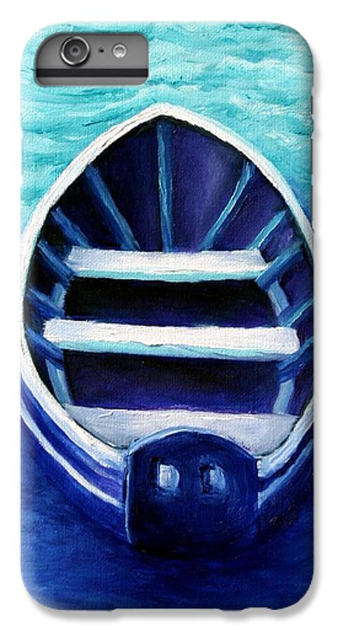 Boat IPhone 6 Plus Case featuring the painting Zen Boat by Minaz Jantz