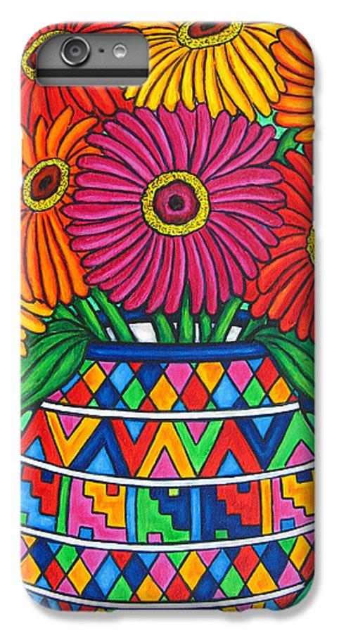 Zinnia IPhone 6 Plus Case featuring the painting Zinnia Fiesta by Lisa Lorenz