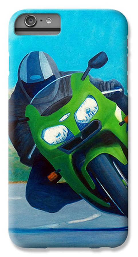 Motorcycle IPhone 6 Plus Case featuring the painting Zx9 - California Dreaming by Brian Commerford