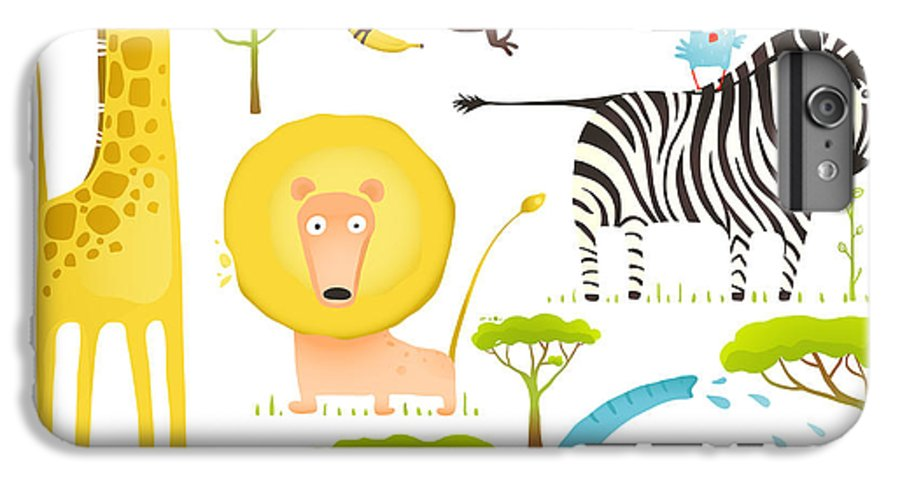 Forest IPhone 6 Plus Case featuring the digital art African Animals Fun Cartoon Clip Art by Popmarleo