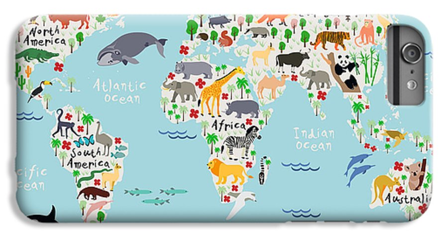 America IPhone 6 Plus Case featuring the digital art Animal Map Of The World For Children by Moloko88