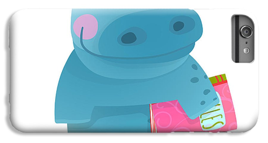 Pink IPhone 6 Plus Case featuring the digital art Hippopotamus Kid With Book Study by Popmarleo