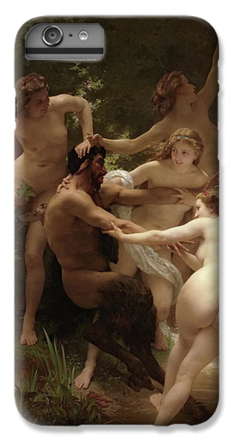 William Adolphe Bouguereau IPhone 6 Plus Case featuring the painting Nymphs And Satyr, 1873 by William-Adolphe Bouguereau