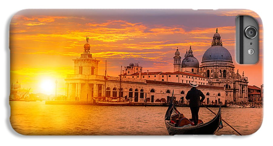 Building IPhone 6 Plus Case featuring the photograph Venetian Gondolier Punting Gondola by Muratart