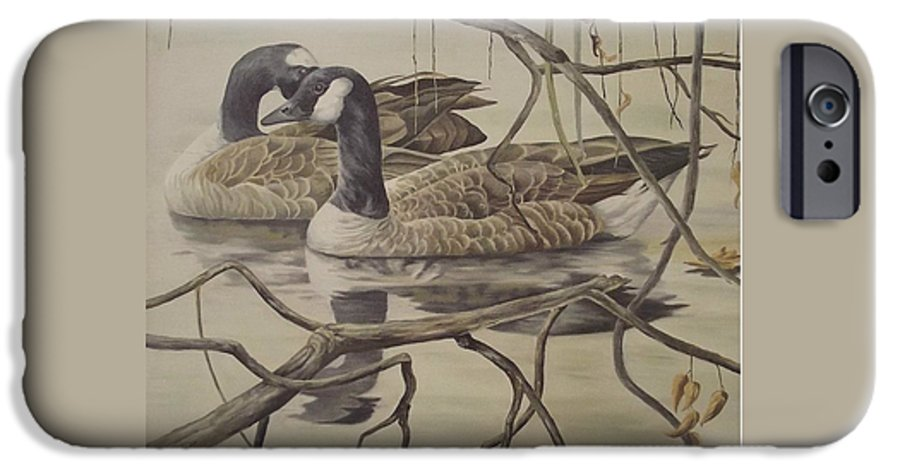 Water IPhone 6s Case featuring the painting A Pair Of Ducks by Wanda Dansereau