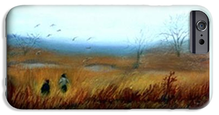 Figures IPhone 6s Case featuring the painting A Winter Walk by Gail Kirtz