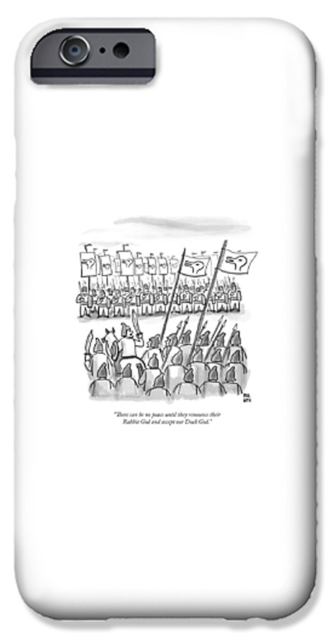 War IPhone 6s Case featuring the drawing An Army Lines Up For Battle by Paul Noth