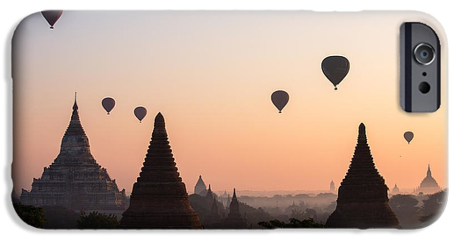 Dawn IPhone 6s Case featuring the photograph Ballons Over The Temples Of Bagan At Sunrise - Myanmar by Matteo Colombo