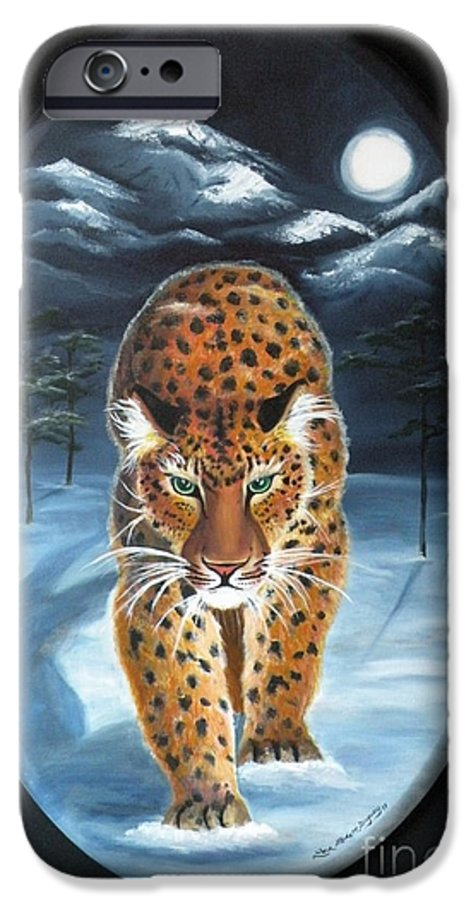 Snow Leopard IPhone 6s Case featuring the painting Batukhan Snow Leopard by Lora Duguay