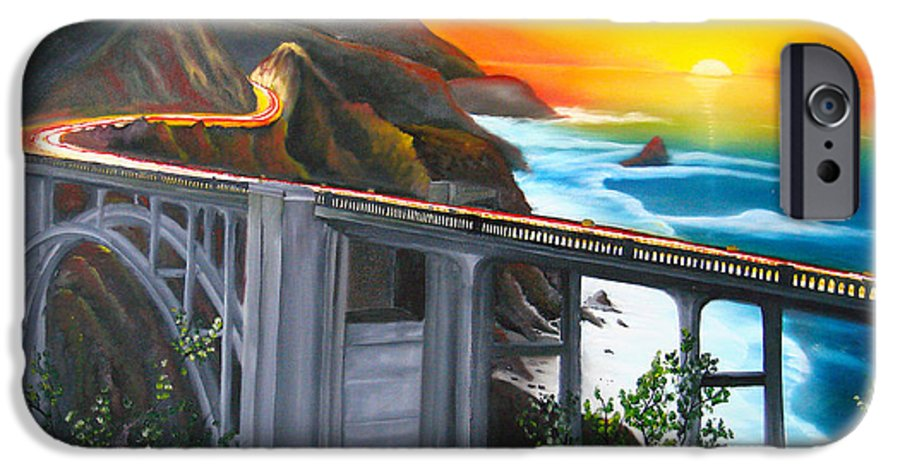 Beautiful California Sunset! IPhone 6s Case featuring the painting Bixby Coastal Bridge Of California At Sunset by Portland Art Creations