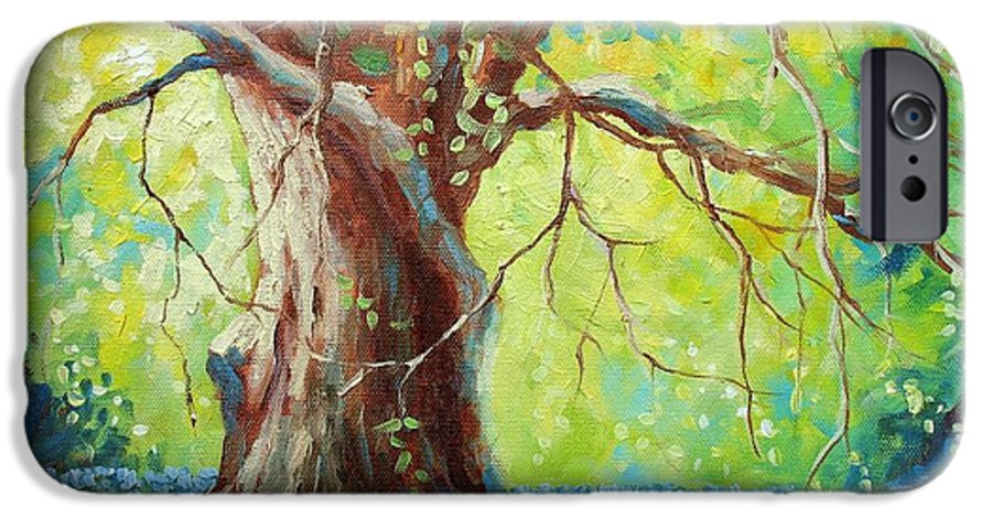 Bluebonnets IPhone 6s Case featuring the painting Bluebonnets Under The Oak by David G Paul