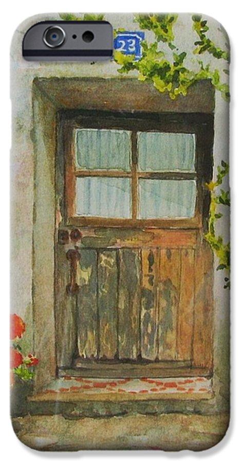 Door IPhone 6s Case featuring the painting Brittany Door by Mary Ellen Mueller Legault
