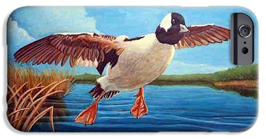 Rick Huotari IPhone 6s Case featuring the painting Buffelhead Duck by Rick Huotari