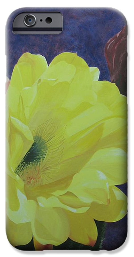 Argentine Cactus Bloom IPhone 6s Case featuring the painting Cactus Morning by Janis Mock-Jones