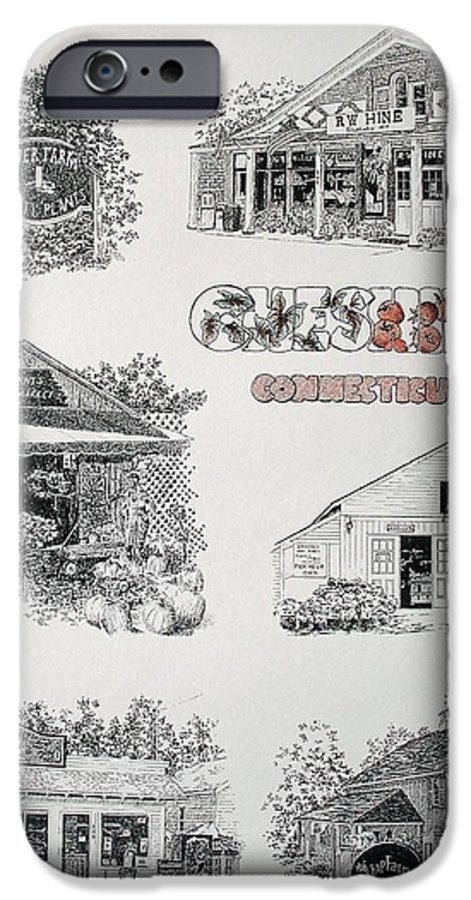 Connecticut Chechire Ct Architecture Buildings New England IPhone 6s Case featuring the painting Cheshire Landmarks by Tony Ruggiero