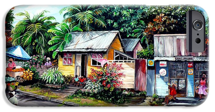 Landscape Painting Caribbean Painting Shop Trinidad Tobago Poinciana Painting Market Caribbean Market Painting Tropical Painting IPhone 6s Case featuring the painting Chins Parlour   by Karin Dawn Kelshall- Best
