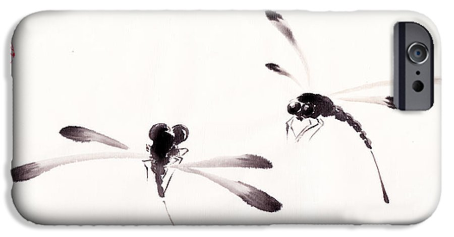 Dragonfly IPhone 6s Case featuring the painting Dance Of The Dragonflies by Oiyee At Oystudio