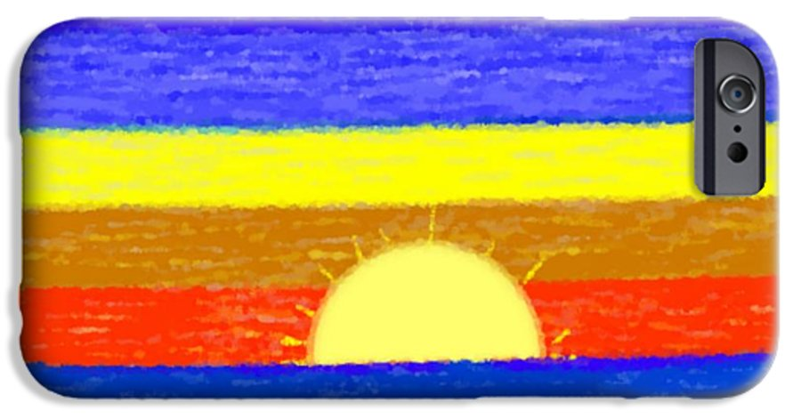 Evening.sky.stars.colors.violet.blue.orange.yellow.red.sea.sunset.sun.sunrays.reflrction. Ater. IPhone 6s Case featuring the digital art Evening Colors by Dr Loifer Vladimir
