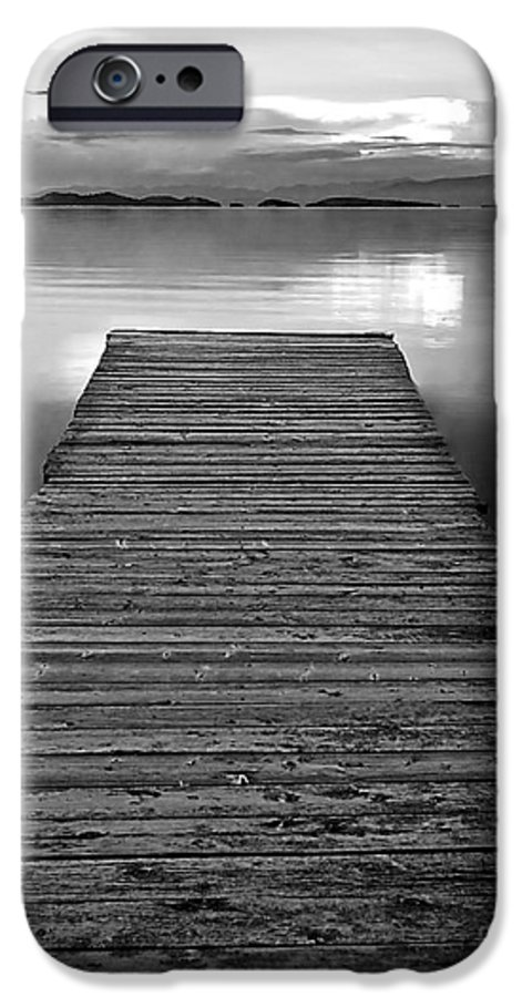 Dock IPhone 6s Case featuring the photograph Flathead Lake Dock Sunset - Black And White by Brian Stamm