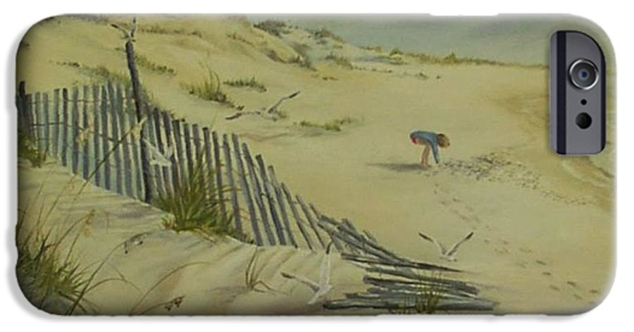 Seascape IPhone 6s Case featuring the painting Gathering Seashells by Wanda Dansereau