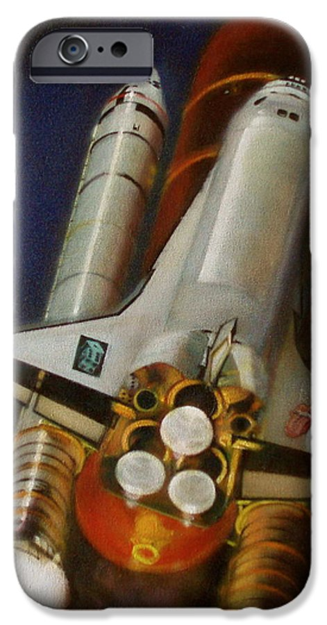 Space Shuttle;launch;liftoff;blastoff;rockets;engines;astronauts;spaceart;nasa;photorealism IPhone 6s Case featuring the painting God Plays Dice by Sean Connolly