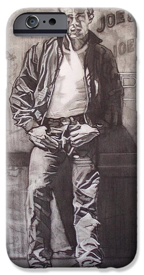 Charcoal; Icon;americana;cool;window;sidewalk;street;rock And Roll;jeans;t-shirt;diner;movie Star IPhone 6s Case featuring the drawing James Dean by Sean Connolly