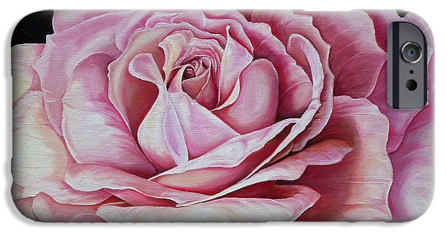 Rose Painting Pink Rose Painting  Floral Painting Flower Painting Botanical Painting Greeting Card Painting IPhone 6s Case featuring the painting La Bella Rosa by Karin Dawn Kelshall- Best