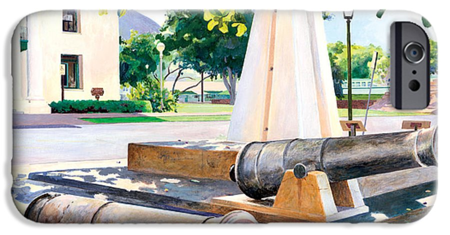 Lahaina Maui Cannons IPhone 6s Case featuring the painting Lahaina 1812 Cannons by Don Jusko