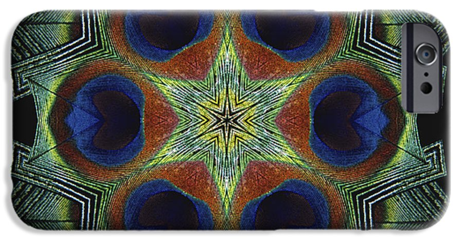 Mandala IPhone 6s Case featuring the digital art Mandala Peacock by Nancy Griswold
