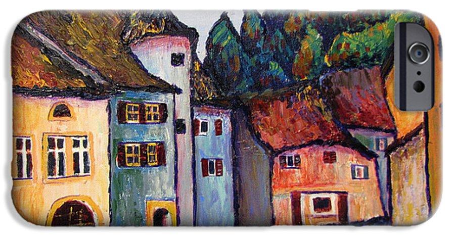 Medieval IPhone 6s Case featuring the painting Medieval Village Of St. Ursanne Switzerland by Art Nomad Sandra Hansen